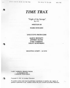 "Time Trax ""Night of the Savage"" 1992 Original Script"