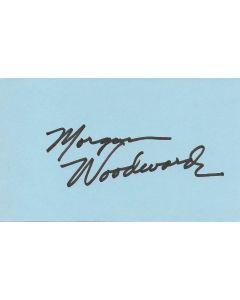 Morgan Woodward (1925-2019) signed index card - Dallas, Gunsmoke, Cool Hand Luke