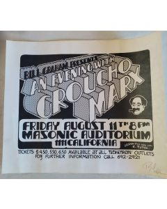 Groucho Marx Concert 17X14  Poster Randy Tuten Signed San Francisco 1972