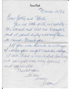 Susan Clark signed letter w/envelope
