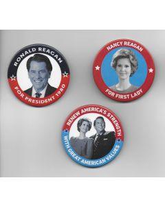 Set of 3 Prop  buttons + DVD Killing Reagan