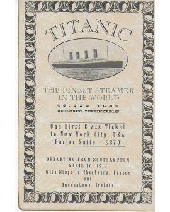 Titanic replica movie prop First Class ticket