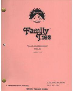"Family Ties ""All in the Neighborhood"" 1989 Original Script"