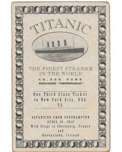 Titanic replica movie prop Third Class ticket