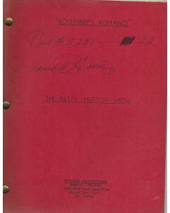 "The Betty Hutton Show ""Rosemary's Romance"" 1959 Original Script"