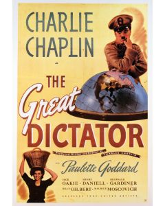 Charlie Chaplin The Great Dictator Reprint Movie Poster 26x38
