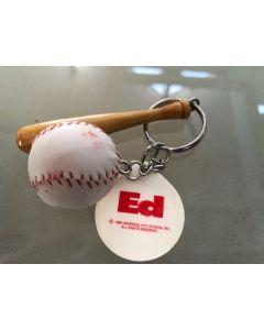 Ed mini baseball and bat promo keychain