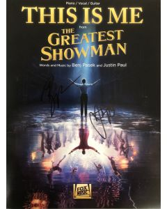 THIS IS ME from The Greatest Showman sheet music signed by Pasek and Justin Paul B7
