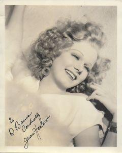 Jean Harlow Vintage Original Autographed 8X10 Photo (personalized to D. Bows)