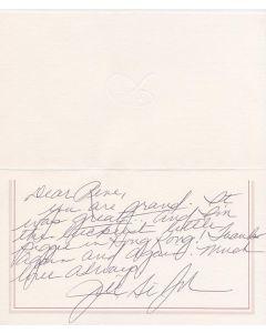 Jill St. John personally signed greeting card