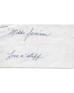 Mikki Jamison (1944-2013) signed in person index card