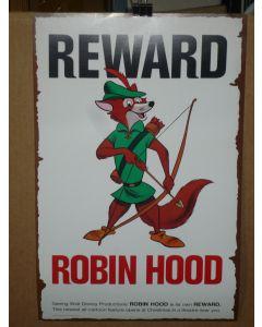 "ROBIN HOOD, Disney 11x17 ""Reward"" poster - special 1973 promo"