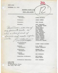 Saturday Night Live (12/19/87) original script signed by Phil Hartman