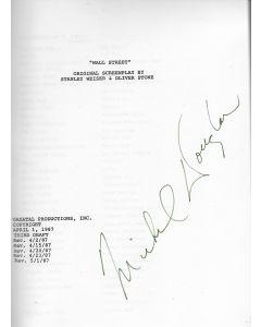 Wall Street 1987 original script signed by Michael Douglas