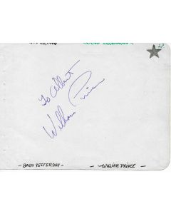 William Prince (1913-1996) signed in person index card